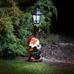 Blue Garden Gnome with Solar Powered Lamp Post